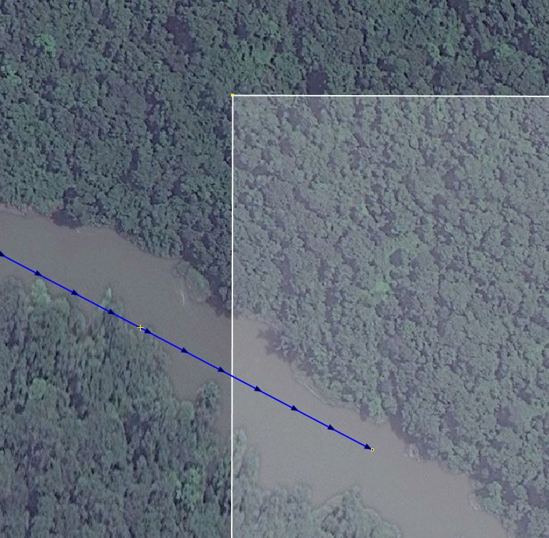 Ein Fluss hört einfach auf. Mit neuen Luftbildern könnte es weitergehen...