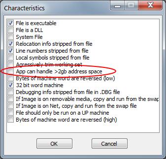 Mit CFF Explorer lässt sich der PE Header verändern und Software kann so mehr als 2GB ansprechen.