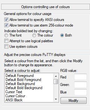 Der Dialog um bei PuTTY festzulegen wie die Farben und Textattribute behandelt werden